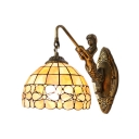 Beige Dome Floral Wall Sconce with Mermaid Tiffany Style Stained Glass Wall Lamp