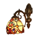 Tiffany Style Baroque Dome Wall Light Stained Glass Wall Sconce in Multicolor for Bathroom