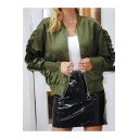 Classic Stand Collar Chic Ruffle Embellished Long Sleeve Green Zip Up Bomber Jacket