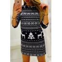 Popular Half Sleeve Round Neck Cartoon Deer Tree Printed Sheath Mini Dress