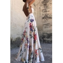 New Stylish Open Back Floral Printed V Neck Sleeveless Maxi Dress