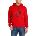 Fashion Wolf Head Letter Print Long Sleeve Casual Fitted Drawstring Hoodie