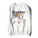 Lovely Cartoon Unicorn Letter BROTHER Printed Round Neck Long Sleeve Sweatshirt