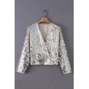 Hot Sexy Long Sleeve V Neck Sequined Embellished Silver Blouse Top