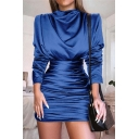 Long Sleeve Cowl Neck Basic Solid Trendy Ruched Mini Sheath Satin Dress