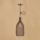 Industrial Dome/Bottle Suspended Light Metal Cage 1 Light Ceiling Pendant Light in Black
