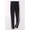 Leisure Sports Elastic Waist Striped Pants