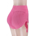 Fashion Elastic Waist Plain Lace Up Side Sports Leisure Skinny Shorts