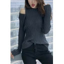 New Arrival Unique Zip Closure Cold Shoulder Long Sleeve Solid Loose Fitted Sweater