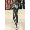 Colorblock Long Sleeve Zip Embellished Side Drawstring Hoodie Drawstring Waist Pants Co-ords
