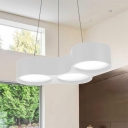 3 Light Linear Chandelier Contemporary Metal LED Hanging Pendant Lights in White for Kitchen Dining