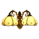 Floral Wall Light Sconce Tiffany Vintage Beige Glass 2 Heads Wall Mount Light for Foyer