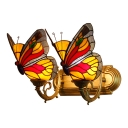 Scarlet Red Butterfly Lighting Fixture Tiffany Rustic Stained Glass 2 Heads Accent Wall Sconce