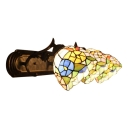 Triple Lights Floral Wall Lamp Tiffany Stained Glass Wall Light Sconce in Brass Finish