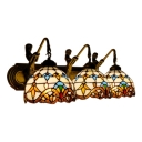 Dome Wall Lighting Tiffany Victorian Stained Glass Triple Lighting Fixture in Multicolor