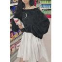 Black Ribbed Trim Bardot Neck Moon Long Sleeve Cropped Oversize Sweatshirt