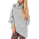 Stylish Plain Button Side Turtleneck Asymmetrical Hem Cape Sweater