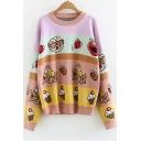Round Neck Long Sleeve Cartoon Printed Loose Pink Sweater