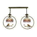Tiffany Nautical Dome Hanging Light with Birds Stained Glass 2 Lights Pendant Light for Bedroom