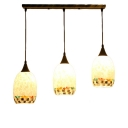Modern Tiffany Mosaic Pendant Light Shelly Triple Head Suspended Light in Antique Brass
