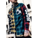 Street Fashion Plaids Patchwork Chest Pockets Long Sleeve Dipped Hem Leisure Shirt