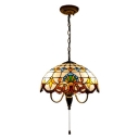 Stained Glass Dome Pendant Light Victorian Vintage 3 Light Accent Drop Ceiling Lighting