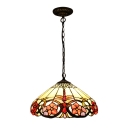 Single Light Floral Pendant Lamp Tiffany Style Lodge Glass Lighting Fixture in Multi Color