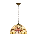 Stained Glass Flower Pendant Light Tiffany Style Lodge Accent Suspended Lamp in Beige