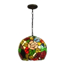 Rose/Leaf Design Pendant Lamp Vintage Stained Glass Single Light Hanging Lamp in Multi Color