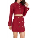 Plain Long Sleeve Lapel Button Front Cropped Top Mini Skirts Corduroy Co-ords