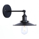 Iron Conical Lighting Fixture Industrial 1 Head Wall Light in Black for Restaurant