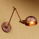 Retro Style Swing Arm Wall Lamp Iron Single Bulb Wall Light Sconce in Rust for Coffee Shop