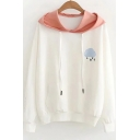 White Cute Cloud Embroidered Long Sleeve Colorblock Hoodie