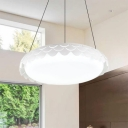 Metal and Acrylic Hollow Design LED Hanging Light White Finish Simple Style Round Pendant Fixture