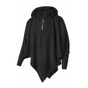 Punk Style Long Sleeve Plain Oversize Asymmetrical Hem Batwing Half Zip-Up Black Hoodie