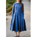 Ladies New Stylish Lapel Collar Long Sleeve Button Front Blue Cotton-Linen Midi A-Line Pleated Dress