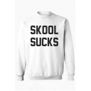 Trendy Letter Skool Sucks Pattern Crewneck Long Sleeve Unisex Regular Fitted Sweatshirt