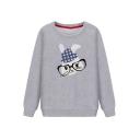 Cute Cartoon Rabbit Contrast Trim Long Sleeve Round Neck Loose Sweatshirt
