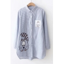 Lovely Cartoon Cat Embroidered Lapel Collar Long Sleeve Blue Striped Shirt