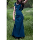 Women's New Fashion Hooded Short Sleeve Ruched Detail Side Hollow Out Back Solid Maxi Sheath Dress