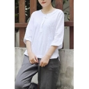 New Arrival Basic Solid Round Neck Three-Quarter Sleeve Linen Blouse