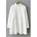 New Arrival Ruffle Hem Chic Embroidered Stand Collar Long Sleeve Button Front White Shirt