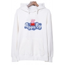 Cute Cartoon Pig LETTER PEPPA PIG Printed Long Sleeve Cotton Hoodie for Couple