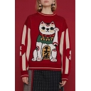 Cute Cartoon Cat Printed Long Sleeve Round Neck Red Thick Sweater