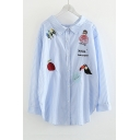 Fashion Cartoon Embroidered Spread Collar Long Sleeve Striped Blue Shirt