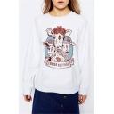 Round Neck Long Sleeve Cartoon Deer Printed Casual White Sweatshirt