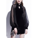 Hot Fashion Modified Mandarin Collar Long Sleeve Chiffon Patched Bodycon Mini Black Dress