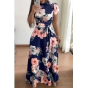 Short Sleeve Mock Neck Floral Pattern Zip Up Back Maxi Fit & Flare Dress