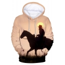 New Trendy Long Sleeve Horse Character Pattern Leisure Thick Hoodie