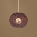 Rattan Globe Hanging Lamp Loft Style 1 Light Luminaire Lighting in Brown for Living Room
